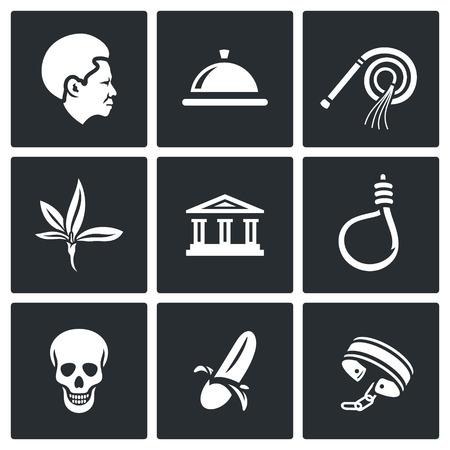 ligotage: Vecteur collecte isol�e Ic�nes plat sur un fond noir pour la conception Illustration