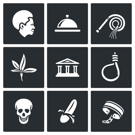 coercion: Vector Isolated Flat Icons collection on a black background for design Illustration