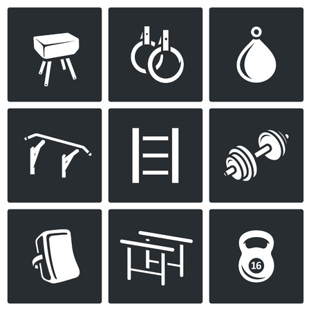 endurance: Vector Isolated Flat Icons collection on a black background for design Illustration