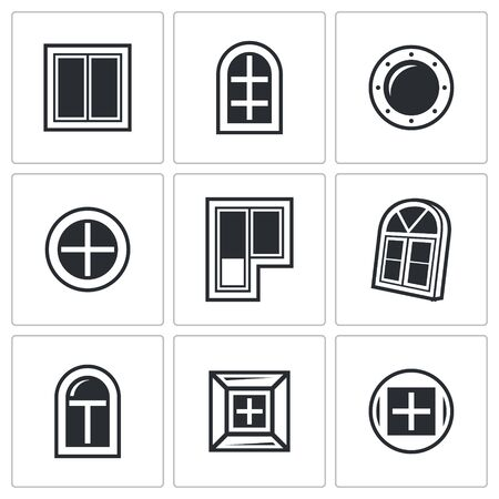 dormer: Vector Isolated Flat Icons collection on a white background for design