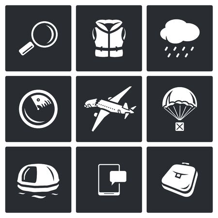 evacuation equipment: Vector Isolated Flat Icons collection on a black background for design Illustration