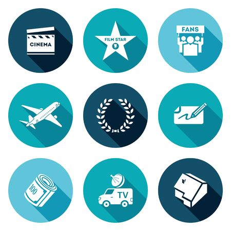 walk of fame: Clapboard, walk of fame, fans, private jet, fame, autograph, money, television car, house. Isolated Flat Icons collection on a color background for design. Illustration