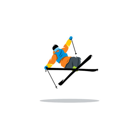 freeride: The athlete performs a trick on skis in the air. Illustration