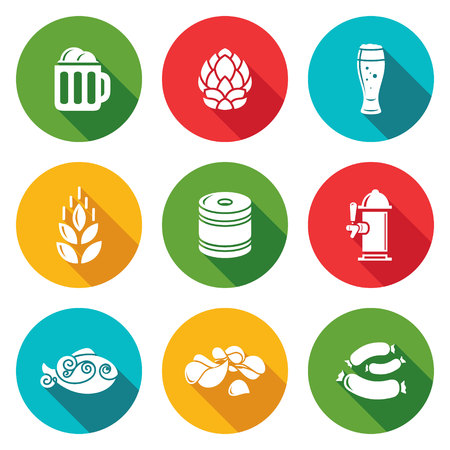 A mug of beer, hops, beer, malt, keg, beer column, dried fish, chips, sausages. Isolated Flat Icons collection on a color background for design