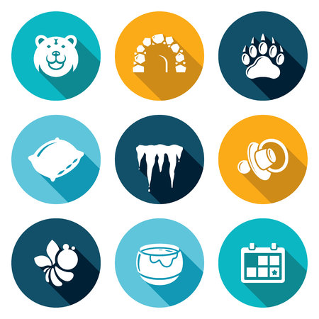 icicles: Muzzle bear den, claw, pillow, icicles, baby nipple, bee, pot of honey, calendar. Isolated Flat Icons collection on a color background for design
