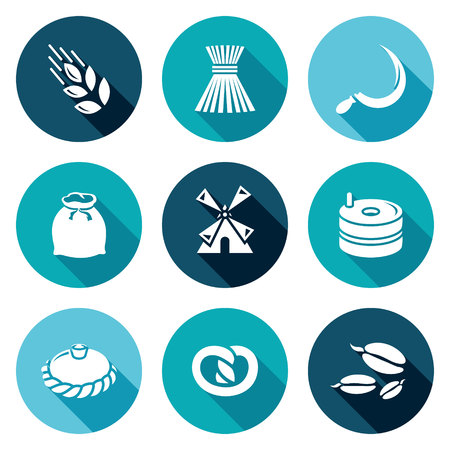 Wheat ears, sheaf of grain, sickle, bag, mill, millstone, loaf, bun, corn. Isolated Flat Icons collection on a color background for design Vettoriali