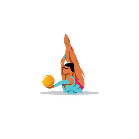 exercise ball: Athlete in a blue dress on the stomach performs an exercise ball.