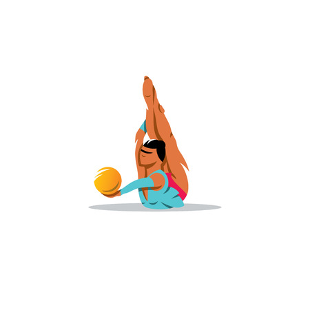 calisthenics: Athlete in a blue dress on the stomach performs an exercise ball.