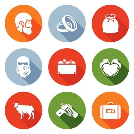 woman with gun: A man with a beard, wedding rings, bag, woman in a burqa, a box of jewelry, hands and heart, sheep, the gun in Cabourg suitcase. Isolated Flat Icons collection on a color background for design Stock Photo