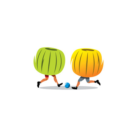 bloating: Two people in inflatable balls play soccer. Stock Photo