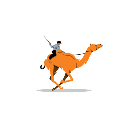 running camel: Jockey riding camel on a white background Illustration
