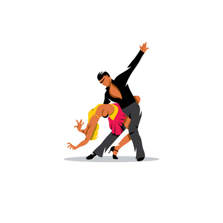 Two elegance tango dancers on a white background