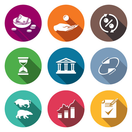 financial institutions: Isolated Flat Icons collection on a color background for design