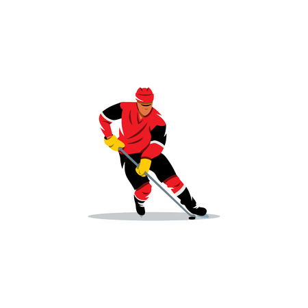 dribbling: Player with the stick dribbling on a white background Illustration