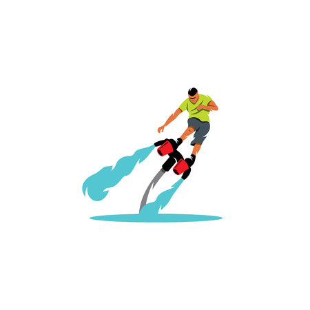 jetpack: The sportsman soars over the water on a white background