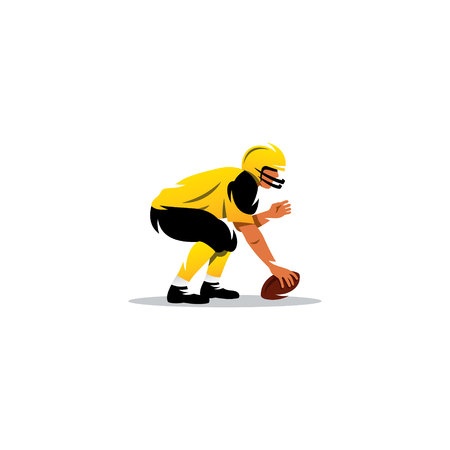Men with football ball on a white background