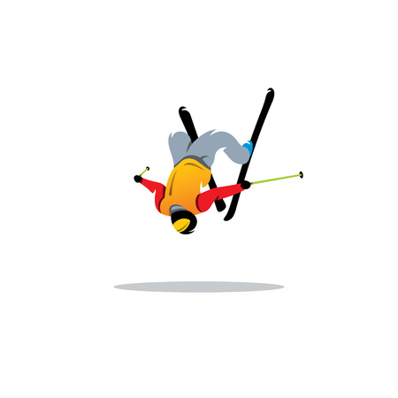 high jump: Free style skier performing a high jump on a white background Illustration