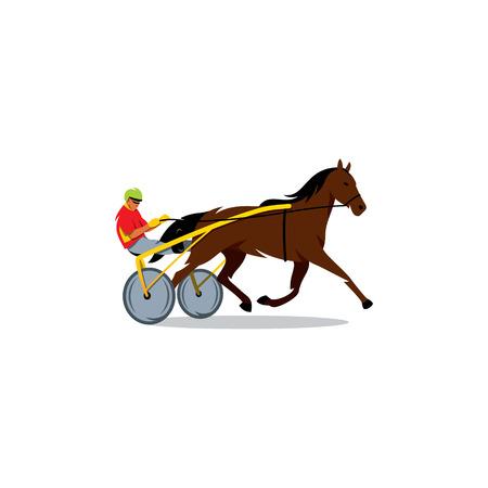 corse di cavalli: L'atleta esegue una carrozza su uno sfondo bianco