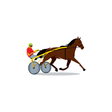 runs: The athlete runs a horse carriage on a white background