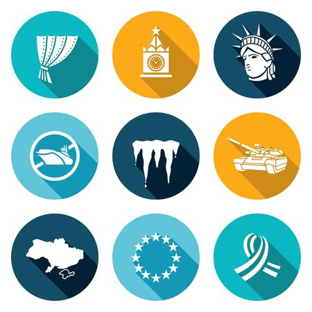 annexation: Isolated Flat Icons collection on a color background for design