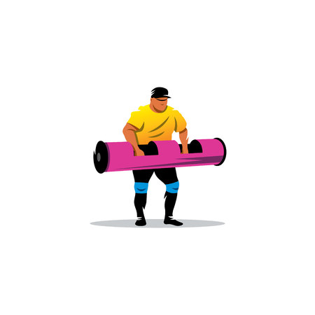 muscular: Powerful muscular man lifting weights on a white background