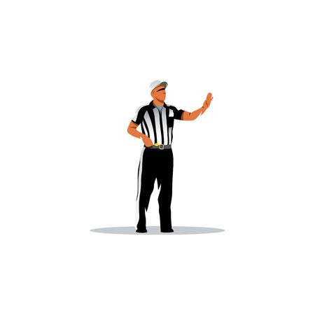 The man in the striped form of referee on a white background 免版税图像 - 49082191
