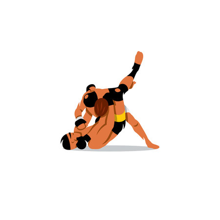 grappling: Two men fighting on a white background Illustration