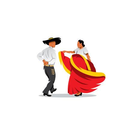 danseuse: Couple mexicain danse sur un fond blanc Illustration