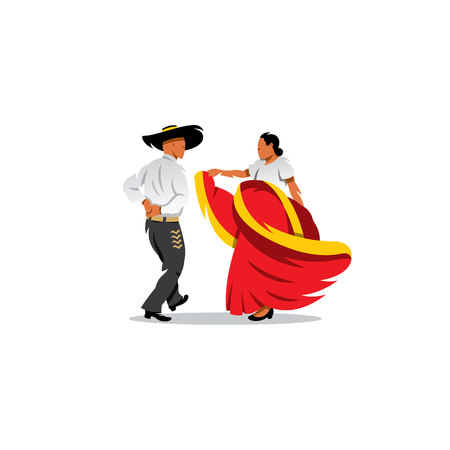 folk dance: Mexican couple dancing on a white background