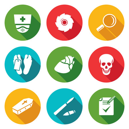 autopsy: Isolated Flat Icons collection on a color background for design