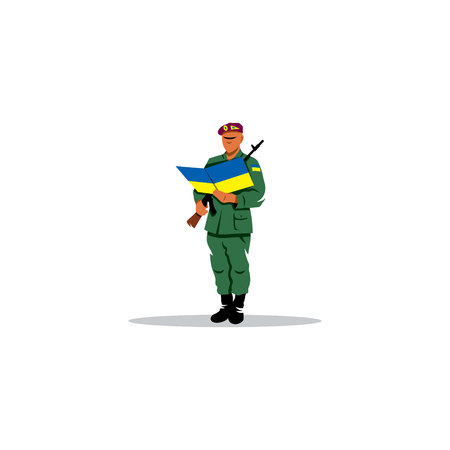 rookie: Ukrainian rookie swears allegiance to the army on a white background
