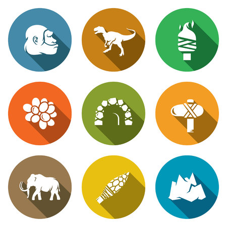 archeology: Isolated Flat Icons collection on a color background for design