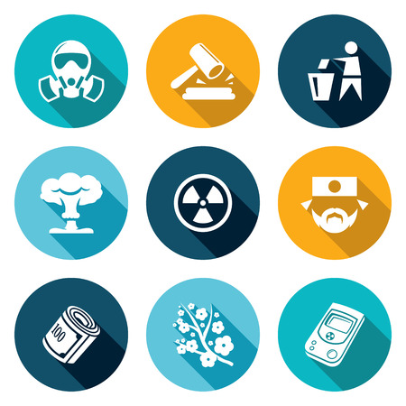 nuclear accident: Isolated Flat Icons collection on a color background for design