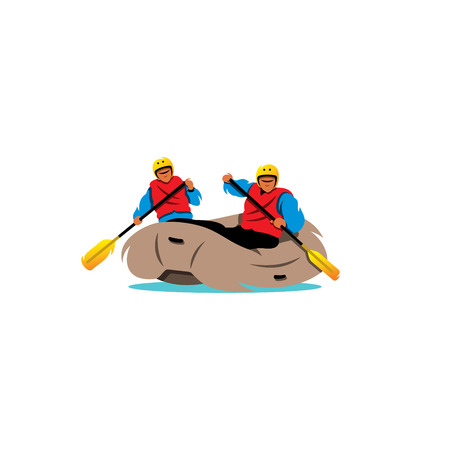 excite: Two men Rafting the River on a white background Illustration