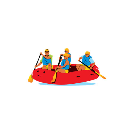 exciting: Four men Rafting the River on a white background