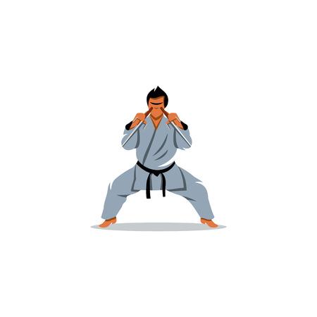 ninjutsu: The athlete with machetes performs Kato on a white background