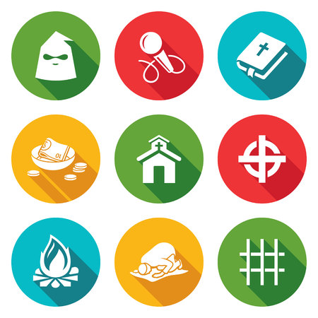 extortion: Isolated Flat Icons collection on a color background for design