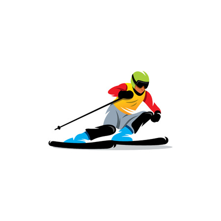 sport background: Athlete on the downhill on a white background