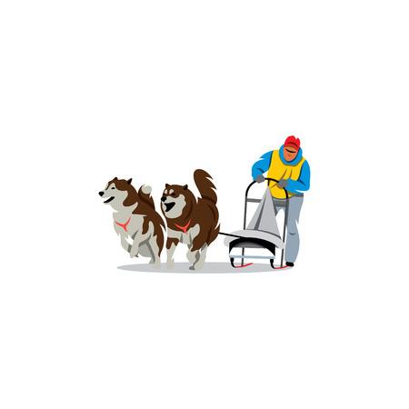 Dogteam chauffeur en Siberische husky op de sneeuwwinter concurrentie race op een witte achtergrond