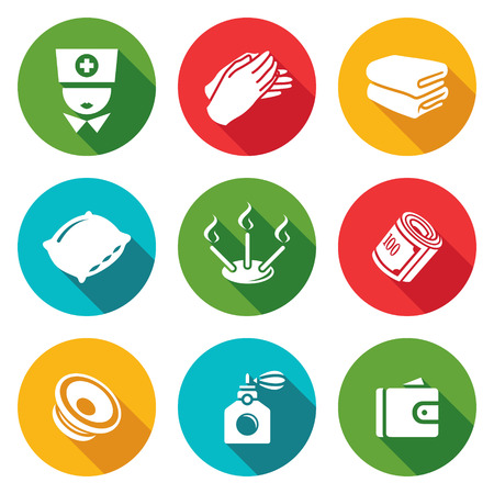 folded hands: Isolated Flat Icons collection on a color background for design