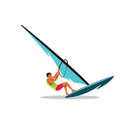 windsurf: Atle operates Sailing on a white background