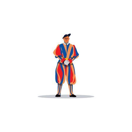 guardsman: Guardsman in a striped dress uniform on a white background