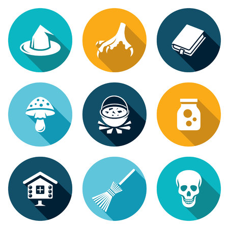 death cap: Isolated Flat Icons collection on a color background for design