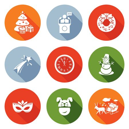 chimes: Isolated Flat Icons collection on a color background for design