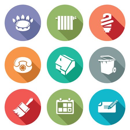 stove pipe: Isolated Flat Icons collection on a color background for design