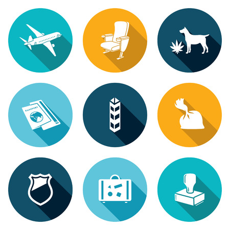 transportation facilities: Isolated Flat Icons collection on a color background for design