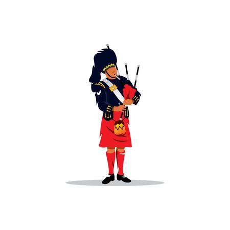 Ein Mann in traditioneller Kleidung mit einem Musikinstrument in den Händen. Vektorgrafik