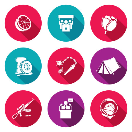 overthrow: Isolated Flat Icons collection on a color background for design