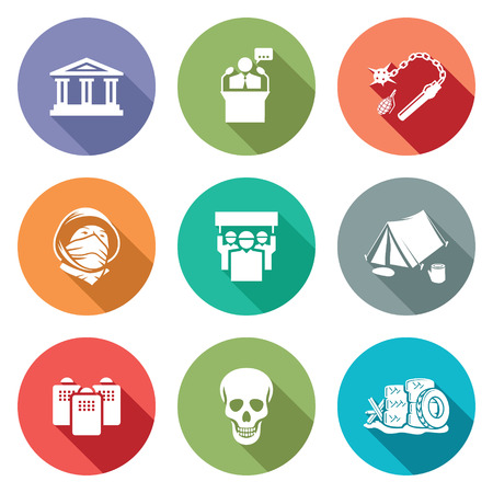 dictatorship: Isolated Flat Icons collection on a color background for design