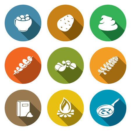 baked potatoes: Isolated Flat Icons collection on a color background for design